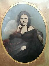 ANTIQUE MONA LISA AMERICAN BEAUTY LADY GIRL FULL PLT WALNUT FRAME TINTYPE PHOTO