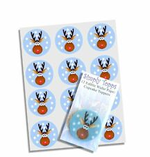 24 Rudolph Reindeer Christmas Cupcake Decoration Cake Toppers Pre Cut 40mm Xmas