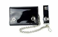 "Black PVC Bikers Leather Chain Wallet Tri Fold Punk Goth Skater Sprots 12"" Chain"