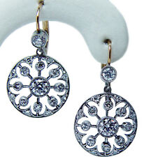 Art Deco European Diamond Dangling Earrings Platinum 18K Gold Estate Jewelry
