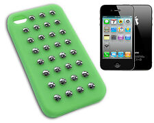 COVER IPHONE 4 CASE SILICONE CASE STUDS STUD RUBBER GREEN GREEN COLOUR Y