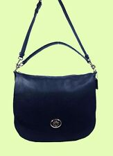 COACH 36762 TURNLOCK Navy Pebble Leather Shoulder Hobo Bag Msrp $350.00