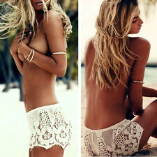 New Women Celeb Festival Summer Crochet Embroidery Lace Shorts Hot Pants