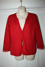 Ladies Red Cardigan Top by George Size 12 Stretchy Chiffon Sleeve Detail