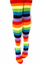 Women's Rainbow Thigh-Highs Candy Colors Striped Socks Costume Long Stockings