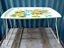 Vintage Mid Century Handiware Folding Metal Bed TV Tray  Table - Floral