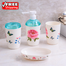 4-Piece Bathroom Accessory Set Soap Dispenser Dish Toothbrush Holder Tumbler