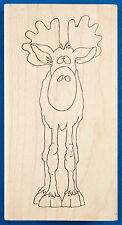 Moose Rubber Stamp by Inky Antics - Front Face View of Funny Cross Eyed Moose