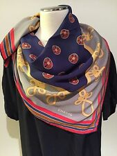 CHANEL France 100% Silk Crepe Foulard Print Scarf 80cmx 80cm Handrolled Edges ni
