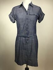 MAX STUDIO Women's Small Blue Gray Denim Chambray Short Sleeve Button Up Dress