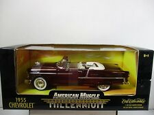 1/18 SCALE ERTL AMERICAN MUSCLE MILLENNIUM BROWNISH RED 1955 CHEVROLET