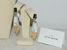 New $345 ALEXIS BITTAR Lucite Pave Crystal Fringe Drop Earrings Black White Clip