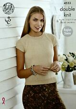 KNITTING PATTERN Ladies Short Sleeve Round Neck Jumper/Top Smooth DK 4523