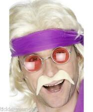 Mens 70s Seventies Tash Blonde Boogie Fancy Dress Saturday Night Fever Moustache