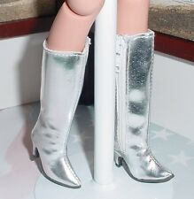 DOLL Shoes, Custom 50mm zip knee boots for Ellowyne - Metallic Silver