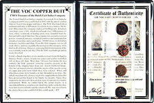 4 VOC Dutch East Indies Co Copper Duits Coins,1700's & Certificate & Album