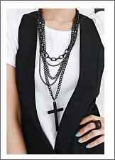 Fashion Silver Black Multi Layers Chain Cross  Long Necklace