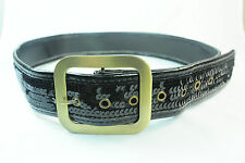ELEGANT BLACK SEQUINED EVENING BELT FOR WOMEN WITH GOLDEN TONES STATEMENT (UW1)