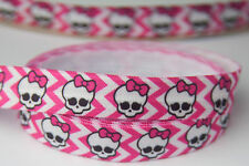 15mm FOE Elastic Stretch Ribbon Skull Monster Bow Scrimp Craft hairbow -5YARDS
