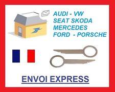clefs d'extraction de démontage façade autoradio VW, SEAT, AUDI, SKODA, FORD