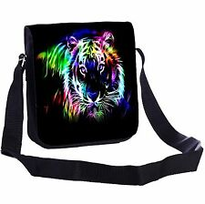 Neon Tiger Outline Small Cross-Body Shoulder Bag Handy Size
