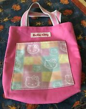 Sanrio Hello Kitty pink bow medium tote bag carry all w front pocket  9.5 by 10""