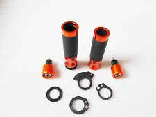 "7/8"" Racing Motorcycle Handle Bar Hand Grips W/ Ends Plugs Caps For KTM Orange"