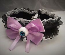 Pastel Goth Black & White Lace Choker Purple Bow Eyeball. Blue Eye. Creepy Cute