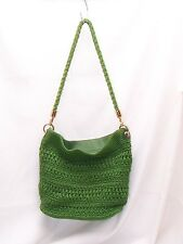 THE SAK GREEN Crochet SHOULDER HANDBAG+ LOT POUCH Rare