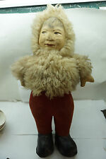 ANTIQUE DOLL ESKIMO CHILD CLOTH HAND PAINTED FACE SHEEP FUR PARKA 20in TALL