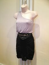LIPSY Silver Black Diamante One Shoulder Stretch Ruched Dress Size 8