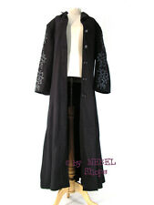 Schwarzer Damen Gothic Wollmantel mit Tribal Stickerei, Wintermantel Gr. XXL/46