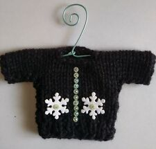 Black with Snowflakes Mini Sweater  Christmas Ornament