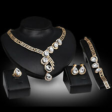 Women New Fashion Wedding Party Crystal Necklace Bracelet Ring Earrings Set