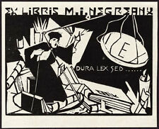 Expressionist Romanian or Hungarian Bookplate 1920