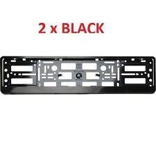 2x Black ABS  Number Plate Surrounds Holder Frame for all cars