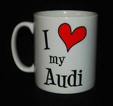 NEW I LOVE MY AUDI MUG CUP GIFT PRESENT QUATTRO CAR HEART DRIVER FUN NOVELTY TT