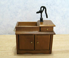 Dollhouse Miniature  Furniture ~ Wet Sink ~ Walnut ~