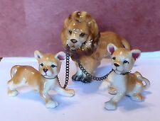 (3) Bone China Lion Cat Family Miniatures Japan