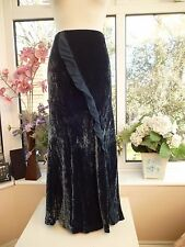 GORGEOUS *LAURA ASHLEY* TEAL SILK MIX VELVET MAXI SKIRT WITH SILK FRILL Sz 16