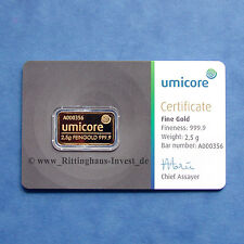 Lingots d'Or 2,5g 2.5 Gramm Umicore or 999,9 Gold bar 2.5 g 2,5 g Blister COA