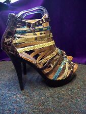 NEW/CHERAQ/MOC CROC/MULTI COLOUR/STRAPPY/PLATFORM HEELS/SIZE 5/ZIP BACK