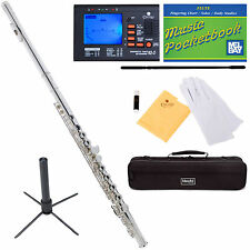 Mendini Silver Plated C Flute 16 Key Close Hole Offset G Split E +Tuner+Sta