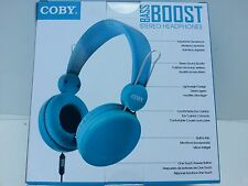 NewCOBY  Bass Boost Stereo Headphone Built-in Mic Blue  to listen download music