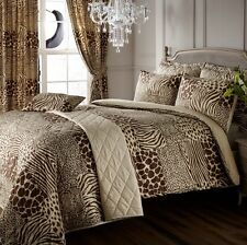 8PC SAFARI ANIMAL PRINT SUPER KING DUVET COVER +CURTAINS + THROWOVER BEDDING SET