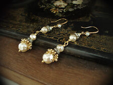 Vintage Baroque Pearl, Matt Seed Beads Long Drop Earrings. Miriam Haskell Style