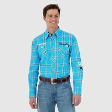 Wrangler Mens 20X Logo Turquoise Western Snap Embroidered Shirt *NWT* Small
