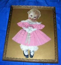VTG 1920'S ANTIQUE FOLK ART PICTURE UNDER GLASS PAPER DOLL, REAL COTHES 8 x 10