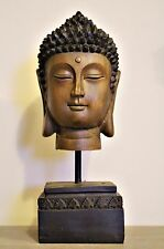 Large 30cm Wooden Buddha Head Ornament on Stand Statue Figurine Brown Asian