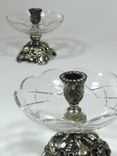 Vintage Metal Glass Candle Holder Candlestick Pair